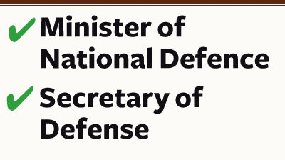 Minister of National Defence / Secretary of National Defense