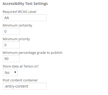 Settings for testing posts in Access Monitor