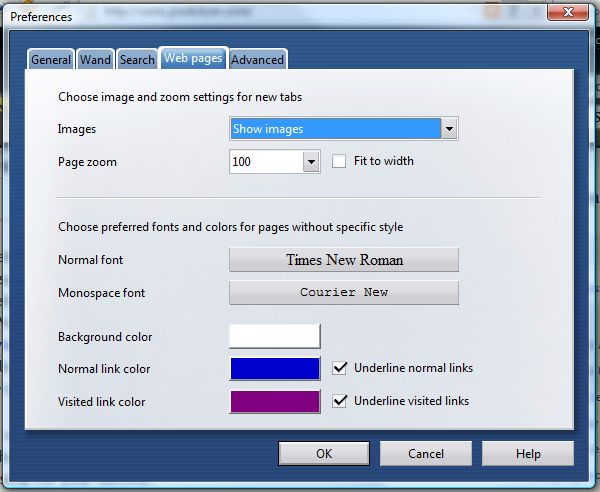 Opera 9 font configuration settings.