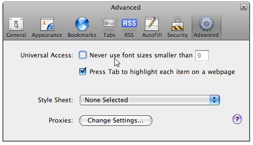 Safari 3.0 Advanced Text Options
