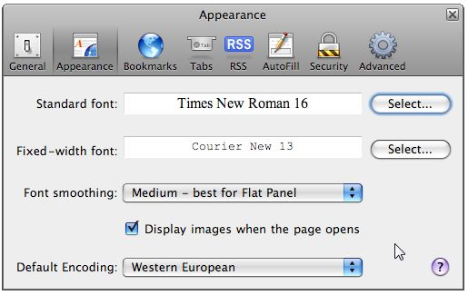 Safari 3.0 Text Options